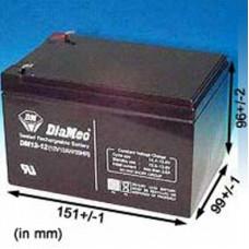 BATTERIE 12 VOLTS DIAMEC 12  A/H DIM : L 151 X H 96 X L 99 M