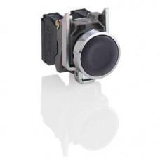 Bouton-poussoir noir Ø 22 - à impulsion affleurant - 1NO
