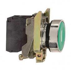 Bouton-poussoir vert Ø 22 - à impulsion affleurant - 1NO