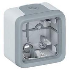 Plexo boitier 1 poste Entrees a embouts gris
