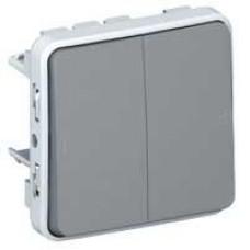 Plexo double deux direct. 10a 250v composable gris